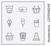 Outline 9 Milk Icon Set....