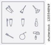 outline 9 brush icon set. broom ... | Shutterstock .eps vector #1205548969