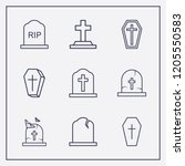 outline 9 cruel icon set.... | Shutterstock .eps vector #1205550583