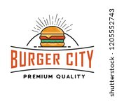 burger logo design  for a fast... | Shutterstock .eps vector #1205552743
