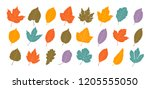 decorative leaves  set. autumn  ... | Shutterstock .eps vector #1205555050