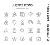 justice line icons. | Shutterstock .eps vector #1205555830