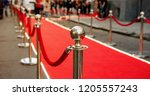 red carpet and barrier on... | Shutterstock . vector #1205557243