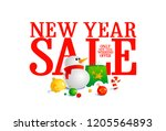 new year sale design with... | Shutterstock . vector #1205564893