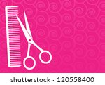 pink barbershop background with ... | Shutterstock .eps vector #120558400