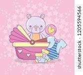 baby shower cartoons | Shutterstock .eps vector #1205594566