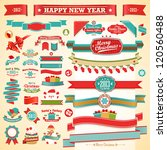 christmas set   vintage ribbons ... | Shutterstock .eps vector #120560488