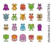 vector set of monster cartoon... | Shutterstock .eps vector #1205607856
