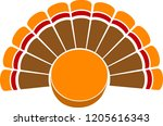 a thanksgiving turkey tail with ... | Shutterstock .eps vector #1205616343