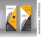 yellow black roll up banner... | Shutterstock .eps vector #1205619223