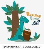 cute dinosaur reads a book...   Shutterstock .eps vector #1205620819