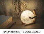 Moon Lamp On Desk  Wooden Doll...