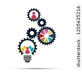 light bulb gear teamwork... | Shutterstock .eps vector #1205635216