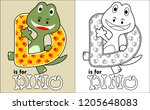 coloring book vector with happy ... | Shutterstock .eps vector #1205648083