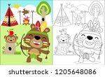coloring book vector with funny ... | Shutterstock .eps vector #1205648086