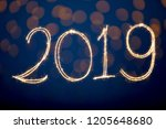 happy new year 2019 with... | Shutterstock . vector #1205648680
