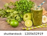 smothie of lime  celery  apples ... | Shutterstock . vector #1205652919