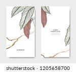 minimalist botanical card... | Shutterstock .eps vector #1205658700