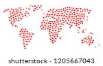 mosaic map of world created... | Shutterstock .eps vector #1205667043