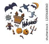 different halloween pictures | Shutterstock . vector #1205668060