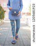 fashion woman wearing blue... | Shutterstock . vector #1205681923
