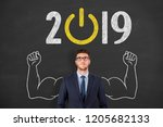 new year 2019 start up concepts ... | Shutterstock . vector #1205682133