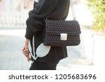 fashion woman wearing black... | Shutterstock . vector #1205683696