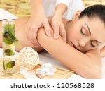 woman on spa massage of body in ... | Shutterstock . vector #120568528