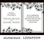romantic wedding invitation... | Shutterstock . vector #1205695549