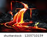 river and fountains of hot lava ... | Shutterstock .eps vector #1205710159