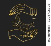 Hands Holding Crescent Moon....