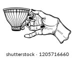 hand holding a tea or coffee... | Shutterstock .eps vector #1205716660