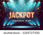 shining retro sign jackpot... | Shutterstock .eps vector #1205727550