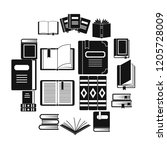books icons set. simple... | Shutterstock . vector #1205728009