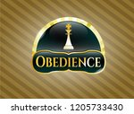 gold badge or emblem with... | Shutterstock .eps vector #1205733430