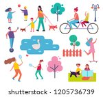 people resting in park... | Shutterstock .eps vector #1205736739