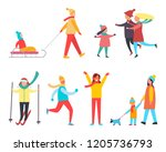 winter activity and active... | Shutterstock .eps vector #1205736793