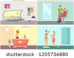 spa salon  reception with... | Shutterstock .eps vector #1205736880