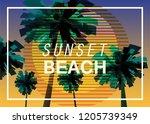 sunset beach at seashore  sea... | Shutterstock .eps vector #1205739349