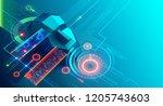 artificial intelligence... | Shutterstock .eps vector #1205743603