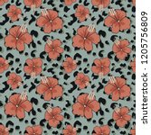 seamless pattern with hibiscus... | Shutterstock .eps vector #1205756809