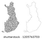 dot and frame map of finland... | Shutterstock .eps vector #1205763703