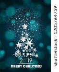 christmas and new year 2019... | Shutterstock .eps vector #1205764759