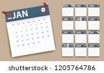 2019 calendar in paper stickers ... | Shutterstock .eps vector #1205764786