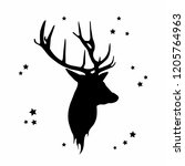 christmas deer. silhouette of a ... | Shutterstock .eps vector #1205764963