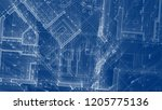 architecture design  blueprint... | Shutterstock . vector #1205775136