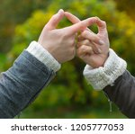 hands of two lovers on a... | Shutterstock . vector #1205777053