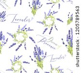 floral seamless with lavender... | Shutterstock .eps vector #1205789563