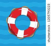 life buoy illustration on blue... | Shutterstock .eps vector #1205793223