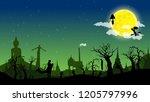 vector thailand graveyard... | Shutterstock .eps vector #1205797996